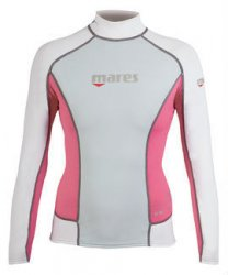 Uv tröja rash guard trilastic ljusgrå/rosa long - Mares