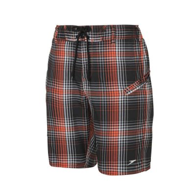 Badshorts Hybrid check 20 svart/orange - Speedo