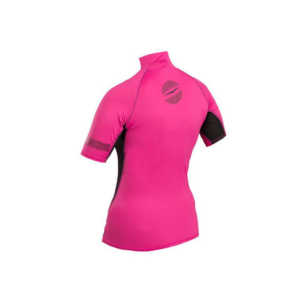 Uv tröja dam kortärmad rosasvart rashguard Gul